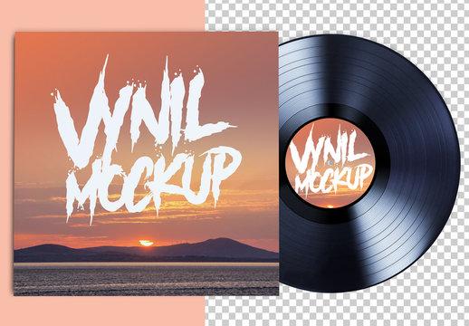 Vinyl Record and Album Mockup