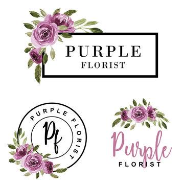 set of feminine logo watercolor flower purple.