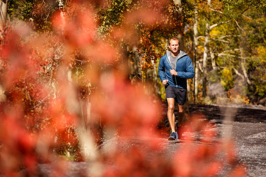 Telluride, Colorado, USA: A male trailrunner running on trails around Telluride on a cool but sunny autumn day.