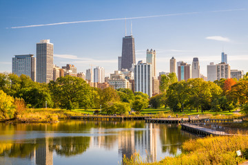 Chicago, Illinois, USA downtown city skyline and park in early autumn. Fototapete