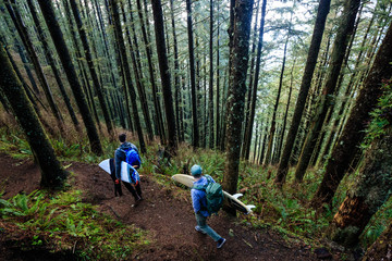 Men with surfboards walking in forest