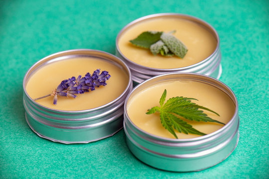Cannabis salve made from hemp and CBD oils with mint and lavender
