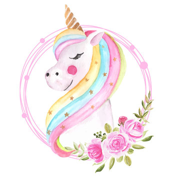 cute watercolor unicorn illustration with floral wreath