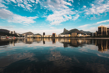 Wall Mural - Panoramic View of Buildings Reflected on Water in Botafogo, Rio de Janeiro, Brazil