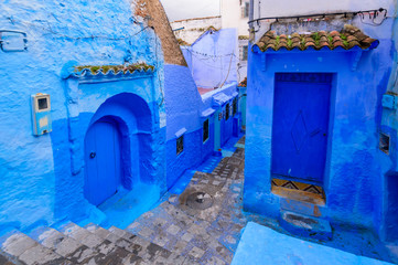 Deurstickers Sightseeing of Morocco. Beautiful blue medina of Chefchaouen town in Morocco
