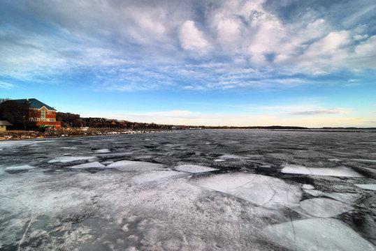 View of Lake Champlain in the winter near Burlington, Vermont