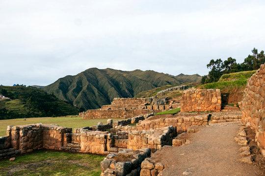 Chinchero inca ruins in Chinchero archeological park at sunset, Peru