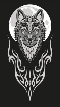Modern abstract character wolf head drawing on black background for print design. Artistic vector illustration.