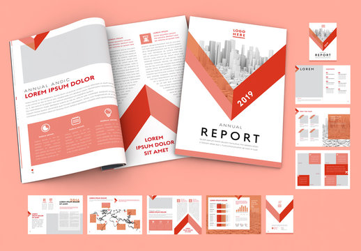 Annual Report Layout with Red Accents
