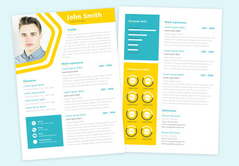 Resume Layout with Blue and Yellow Accents