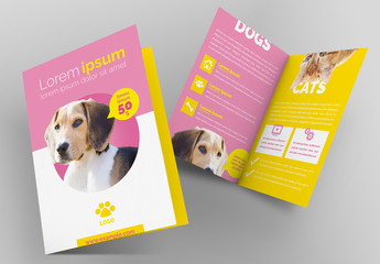Pet Brochure Layout with Pink and Yellow Accents