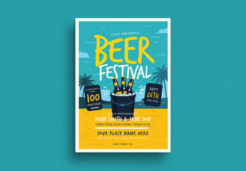 Summer Beer Festival Flyer Layout with Graphic Elements