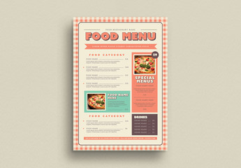 Food Menu Layout with Gingham Elements