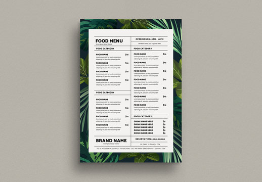 Tropical Food Menu Layout with Graphic Leaf Elements