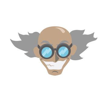 Cartoon mad scientist face - vector illustration