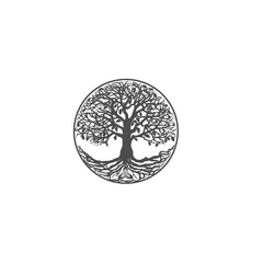 Flat design vector gray pictogram - a tree of life close-up plan isolated