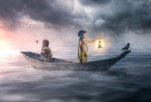 Dramatic scene of two lost children drifting in the ocean