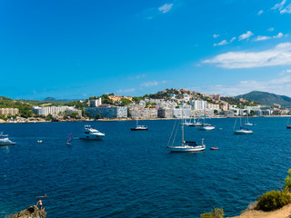 Spain, Balearic Islands, Mallorca, Bay of Santa Ponca, Hotels in the background