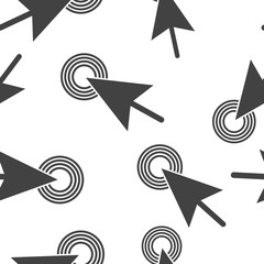 Arrow, the cursor pointing to the point. The cursor clicks on the button  seamless pattern on a white background.