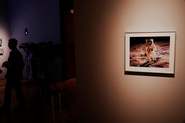 """A signed photograph of Buzz Aldrin on the moon is displayed as part of Christie's upcoming """"One Giant Leap: Celebrating Space Exploration 50 Years After Apollo 11"""" auction in New York"""