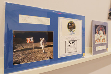 """A signed photograph of Buzz Aldrin on the moon as part of the Apollo 11 space mission is displayed as part of Christie's upcoming """"One Giant Leap: Celebrating Space Exploration 50 Years After Apollo 11"""" auction in New York"""