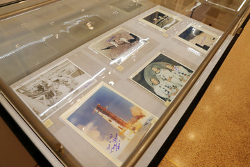 """Signed photographs of the Apollo 11 space mission are displayed as part of Christie's upcoming """"One Giant Leap: Celebrating Space Exploration 50 Years After Apollo 11"""" auction in New York"""
