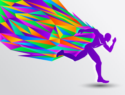 Running man, abstract sport silhouette, athletics concept with colorful runner