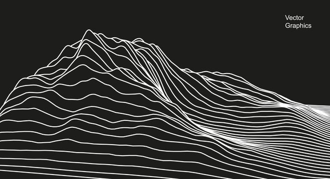 Digital surface made of lines. Abstract technology illustration. - Vector