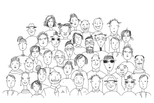 Background with lots of human's faces. People of different ages and professional backgrounds. Working and living together metaphor. Sketch, doodle