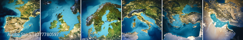 Wall mural Planet Earth Europe map set