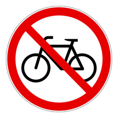 Red bicycle forbidden vector sign