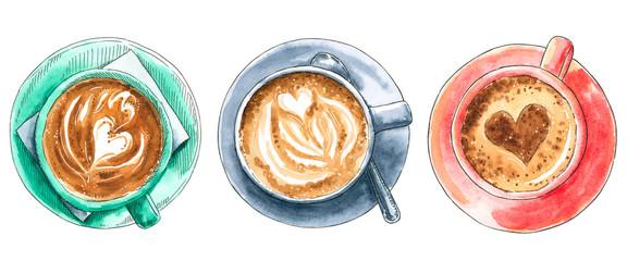 Set of different coffee cups, hand drawn watercolor illustration. Cappucino, latte machiato, cocoa, espresso, hot chocolate. Can be used for menu design.