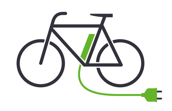 Electric bike icon bicycle charging station vector symbol