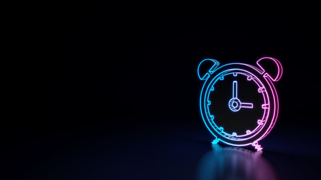 3d glowing neon symbol of symbol of alarm clock isolated on black background