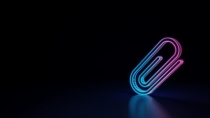 3d glowing neon symbol of symbol of attachment isolated on black background