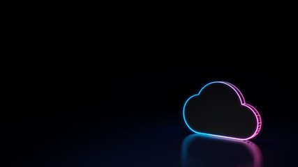 3d glowing neon symbol of symbol of cloud isolated on black background