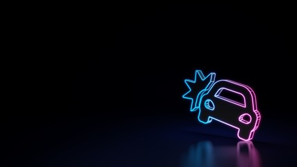3d glowing neon symbol of symbol of car crash isolated on black background