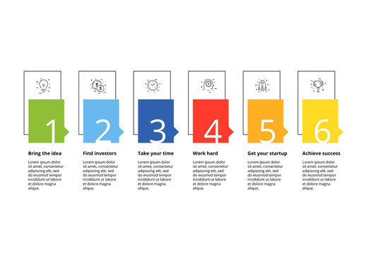 6 Step Infographic with Rainbow Elements