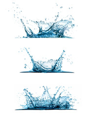 Water splash set isolated on white background