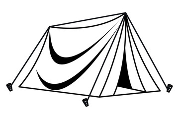 Camping travel tent equipment cartoon in black and white
