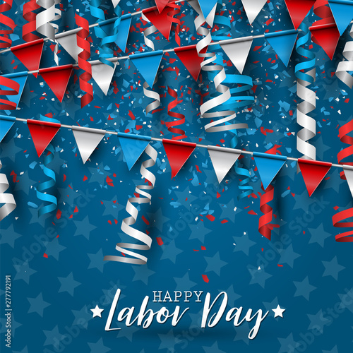 Happy Labor Day Usa National Holiday Red Blue And White Colors