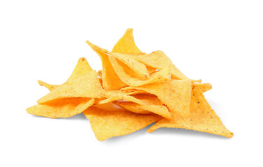 Tasty Mexican nachos chips on white background