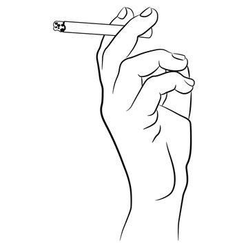 Human hand holding a cigarette. Black and white linear silhouette.