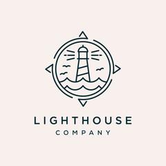lighthouse compass outline vector icon logo design