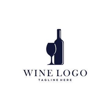 wine bottle and glass vector logo design