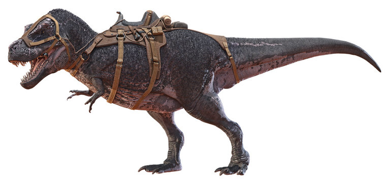 3D rendering of Tyrannosaurus Rex with a saddle.