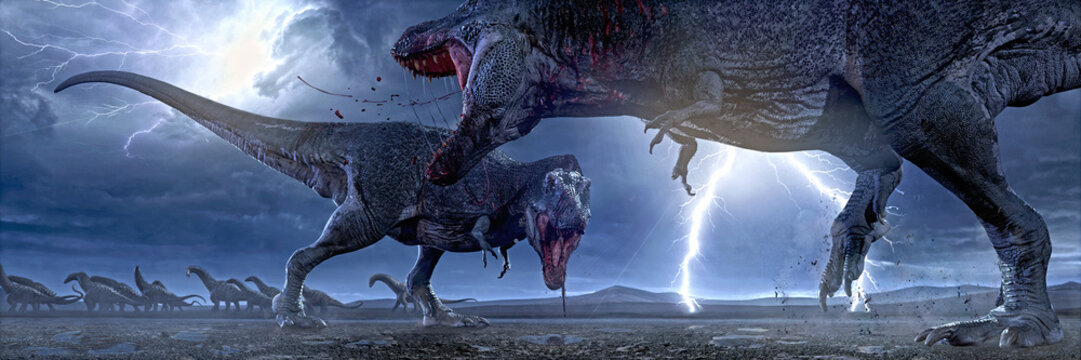 3D rendering of two Tyrannosaurus Rex fight for hunting rights.