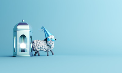 Sheep with glasses and  arabic lamp lantern on studio lighting blue pastel background. Design creative concept of islamic celebration eid al adha, ramadan or happy birthday. 3D render illustration.