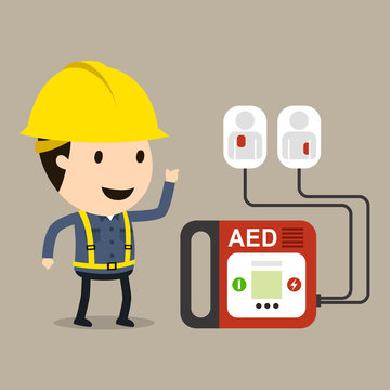 Automated External Defibrillator(AED), Vector illustration, Safety and accident, Industrial safety cartoon