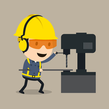 Wear personal protective equipment and proceed with drilling, Vector illustration, Safety and accident, Industrial safety cartoon